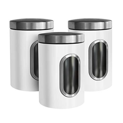 casa pura Barattoli Sale Zucchero caffè - Contenitori Cucina con Finestra Trasparente e Coperchio Ermetico | 5 Colori - Set da 3 Pezzi da 1.4 L - Bianco
