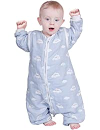 Lictin Baby Sleeping Bag Baby Sleep Sack Split Leg with Removable Sleeves Blue Sky and White Clouds Pattern for Infant Toddler 1-3 Years Old from 75 to 95 cm 100% Organic Cotton(Light Blue)