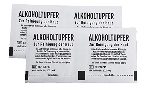 Alkoholtupfer 2-lagig 65 x 30mm Tupfer Alkohol 100 Stück -