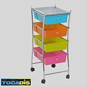 Furniture Castor 4 Tirroir Top Sale Pratique Brand Tocadis Multi Coloured