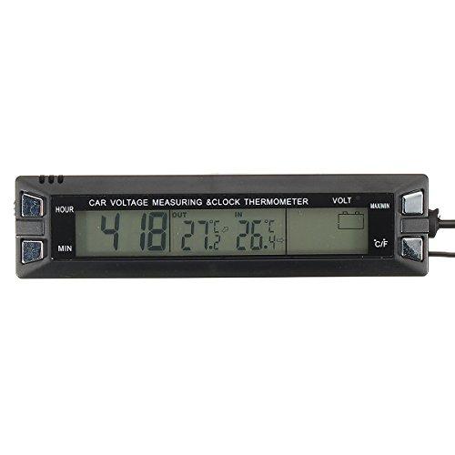 GOZAR Voiture Thermomètre Température Tension Batterie Moniteur Alarme Numérique Horloge Affichage