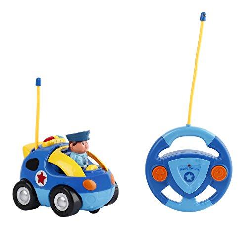 Peepheaven Coche de Policía Teledirigido para Niños Bebés de 3 Años+ Resistente a los Golpes y Tirones (Azul)