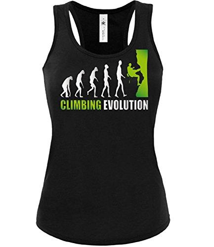 Climbing Evolution 2051 Sport Frauen Damen Fun Tank Top Funshirt Tanktop Sportbekleidung Fanartikel Shop Shirt Tshirt Schwarz Aufdruck Grün S -