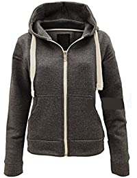 Ladies Plain Zip Up Hoodie Womens Fleece Hooded Top Long Sleeves Front  Pockets Soft Stretchable Comfortable 647ec5164e