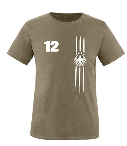 Luckja Deutschland Fanshirt EM 2016 Black/White Edition M 03 Herren Rundhals T-Shirt Oliv/Weiss