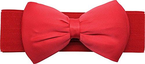 Meta-U - Cinturón ancho elástico con flores para mujer red bow Talla única 02366b87ac