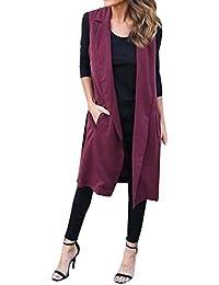 Tongshi Nuevas mujeres bolsillo Casual chaleco sin mangas largo Blazer chaqueta abrigo