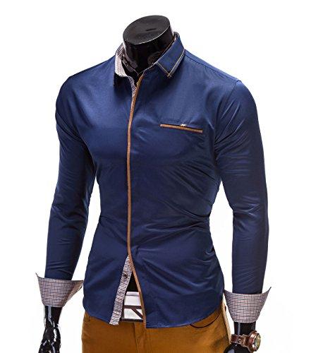 BetterStylz Noah Slim Fit Hemd Langarm Hemden Freizeit Buiseness 3 Farben (S-XL) Dunkel Blau