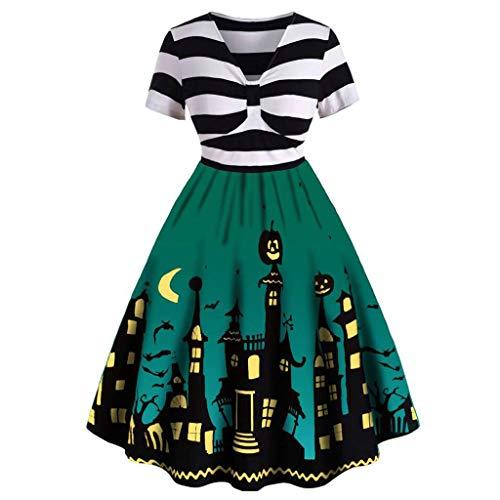 POPLY Ausverkauf Halloween Kostüm, Damen Streifen V-Ausschnitt Kürbis Schädel Schlittschuhläufer Schwingen Kleid Weinlese Eleganter A-line Rock für Frauen (Dirndl Kostüm Mieten)