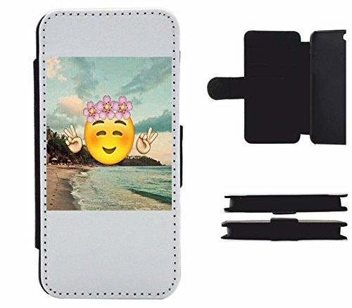 """Leder Flip Case Apple IPhone 4/ 4S """"Über Strand Smiley mit fröhlichem Peacezeichen und Rosen auf dem Kopf"""", der wohl schönste Smartphone Schutz aller Zeiten."""