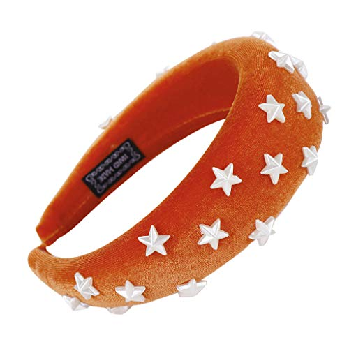 TUDUZ ♕Damen Haarband ♕Schwamm Samt Headband Frauen Haar Kopf Hoop Süße Mädchen Haar Stirnband Stoff Haarreif Stern Perle Dekoration Retro Haarschmuck (A-Orange)