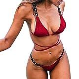 JMETRIC Damen Casual Einfacher Einfarbiger Cross Strap-Bikini(Rot,S)