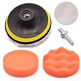 Mayitr 5Pcs/Set 4&Quot; Sponge Polishing Buffing Pad Drill Adapter Kit for Car Auto Polisher Cleaning Dirt Rust Tools
