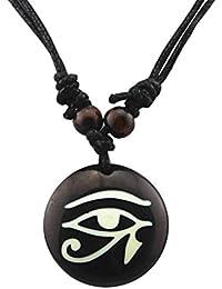 Fengteng El Ojo de Horus Amuleto Negro Resina egipcio Disco Collar Colgante con cordón