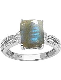 488a7dec87 Gorgeous Labradorite Gemstone 10X8mm Octagone 925 Sterling Silver Jewelry  Ring