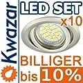 10er Set K-19 Einbaustrahler 24p Smd Led Warmweiss Inkl Gu10 230v Fassung - Chrom Poliert Silberglnzend von Kwazar