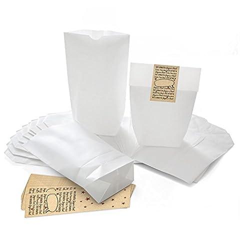 50 weiße Geschenkbeutel mit Boden (14 x 22 x 5,6 cm) aus Kraftpapier und 50 Aufkleber Sticker