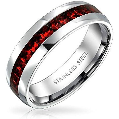 Bling Jewelry Anillo de Eternidad Piedra Natal Enero Cristales Color Granate Acero Inoxidable