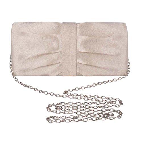 Adoptfade Abendtasche Damen Lang Clutch Tasche Symmetrisch Falte, Champagne Grau
