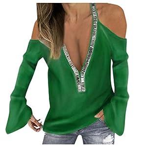 Inawayls Oberteile Damen Große Größen, Oberteile Damen Langarm, Oberteile Damen Elegant Sexy, Oberteile Damen Sexy Schulterfrei Pullover Top, Mode mit V-Ausschnitt
