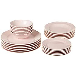 Gaurav Porselen Porcelana 24 piezas Pizarra Set pizarra Servicio Plato Conjunto Rosa Platos, vajilla