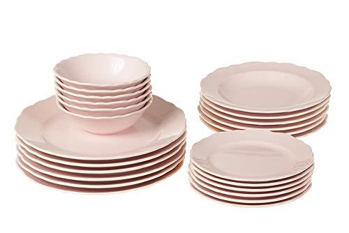 Kütahya Porselen Porzellan 24 tlg Tafel Set Tafel Service Teller Set Pink Geschirr Service Teller