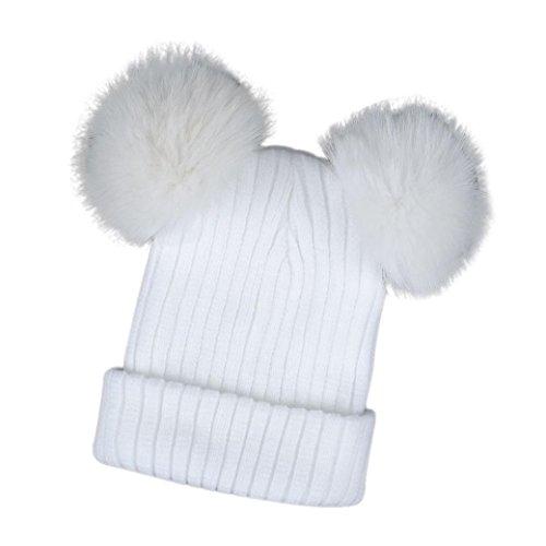 Frauen Warme Mütze TUDUZ Damen Winter Stricken Ski Beanie Schädel Slouchy Hip Hop-Kappe (Weiß)