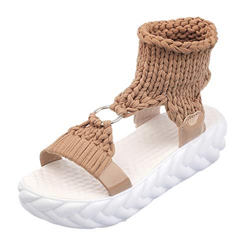 Women Sommer r Böhmen Schuhe Strandschuhe Flach Perlen Zehentrenner Sandalen Fashion Platform Sandals Comfort Big Size Casual Shoes Edel Stiletto