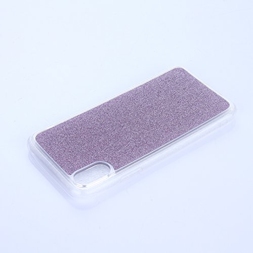 EUWLY Cover per iPhone X, Protettiva Silicone Custodia Per iPhone X TPU Copertura Cover Case Lusso Glitter Bling Brillante Trasparente Silicone TPU Cover Custodia con Finger Ring Grip Holder Stand pro Viola