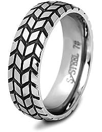 PAURO Unisexo 6MM Tire Creativo Motorista Anillo Hombre Mujer Acero Inoxidable