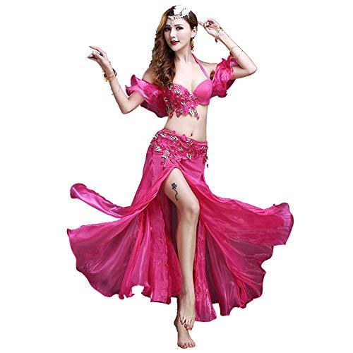 Kostüm Full Set Professionelle - Jxth-cl Frauenkostüm Tanz Bauchtanz Kostüm Set for Frauen Bauchtanz Röcke BH Und Gürtel Ärmel Einseitige Öffnung Anzug 3 stücke für Ladies Dancing Outfit (Farbe : Rosa, Größe : L)