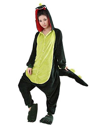 VADOO Winter Warm Flannel Onesie Pajamas Adult Unisex One Piece Jumping Dragon - One Piece Dragon Kostüm