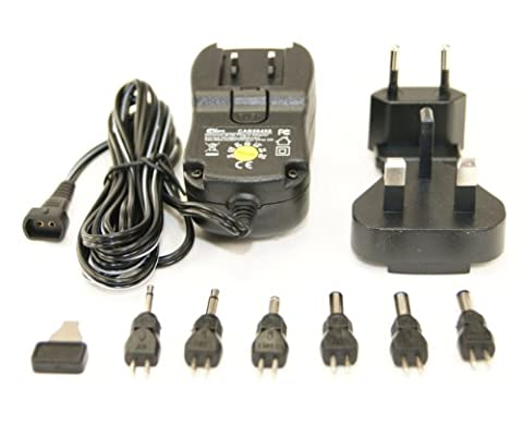 Ex-Pro® UK/EU Plug Variable Voltage replacement AC DC Plug in Power supply - Regulated - 3v to 12v -DC 600mA 0.6A max current. 6 Popular DC type plus (2 Jack type plugs) 3 / 4.5 / 5 / 6 / 7.5 / 9 / 12V selectable.