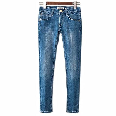 Wgwioo Jeans Juniors Pulpeuses Bien Roulée Base Bootcut Skinny Long Bouton Femmes Lâche Pantalons En Denim Bleu Foncé .