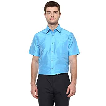 Khoday Williams Men's Sky Blue Poly Silk Solid Regular Fit Shirt (Blue, 38)