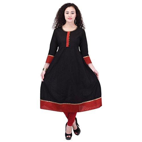 Beautiful Cotton Plain Black&Red Color Kurti