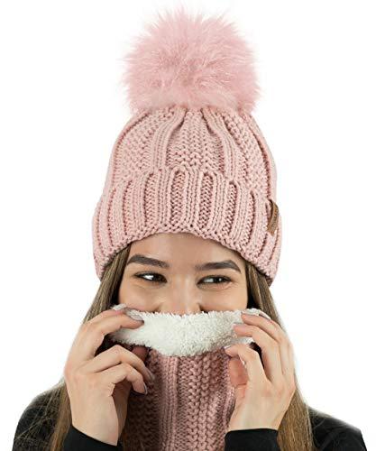 TOSKATOK® Gorro y Bufanda para Mujer de Invierno con Gorro y Forro Polar cálido con Forro Polar cálido...