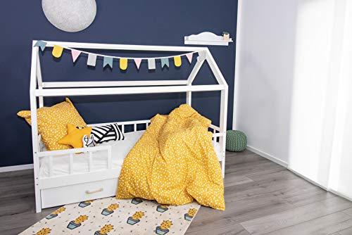 Puckdaddy - Hausbett Carlotta mit Schubladen und Rausfallschutz, Kinderbett in 90x200 cm - Moderne Möbel Aus Kiefernholz