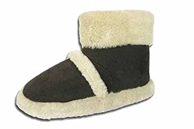New Ladies Coolers Branded FUR COLLAR Microsuede Textile Upper Fluffy Lined Snugg Boot Slipper 316 Black UK size 3-4