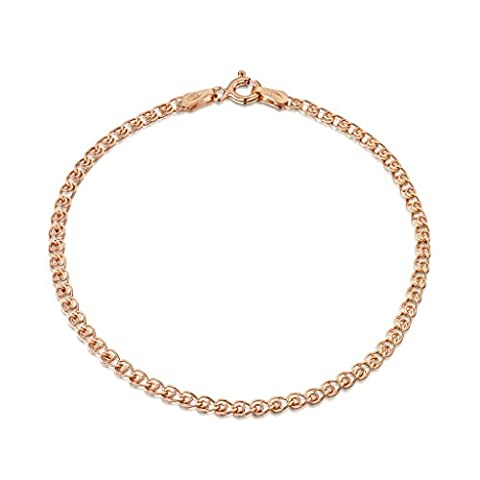 Amberta 14K Rose Gold Plated on 925 Sterling Silver 2.3 mm Heart Chain Bracelet Length 8