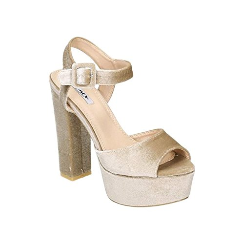 Damen Riemchen Abend Sandaletten High Heels Pumps Slingbacks Velours Satin Peep Toes Party Schuhe Bequem G7 Beige 52