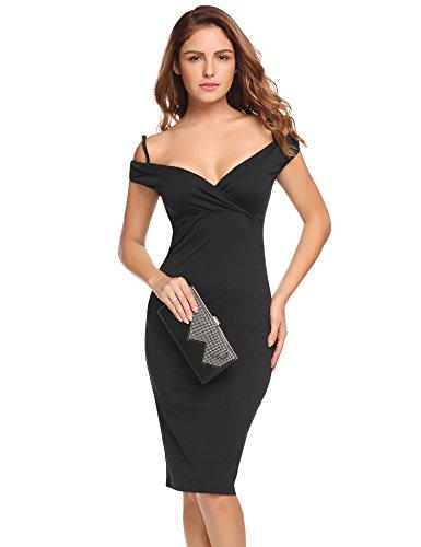 ACEVOG Damen Elegantes Abendkleid Spitzenkleid Sommerkleid Ärmlos Kurz Minikleid Bodycon Kleider Schwarz Weinrot Weiß Z Schwarz