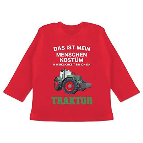 Karneval und Fasching Baby - Das ist Mein Menschen Kostüm in echt Bin ich EIN Traktor - 3-6 Monate - Rot - BZ11 - Baby T-Shirt Langarm