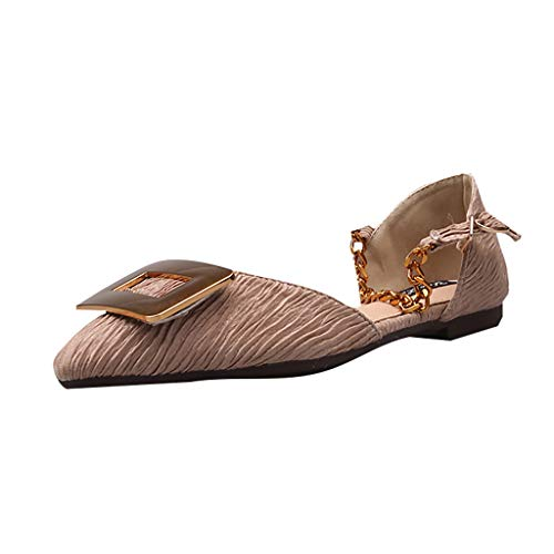 Kolylong® Damen Spitze Sandalen Geschlossene Zehe Eben Sandalen Mode Beschlagen Riemchen Niedriger Absatz Kette Knöchel Gurt Sandalen Sommersandalen