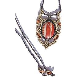 Fabricación artesanal - Collar con colgante para mujer de Macramé de satén, color rojo, Gris y negro con piedra