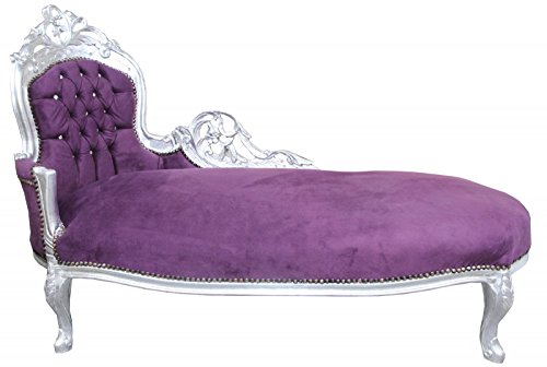 CASA PADRINO BAROQUE CHAISE LONGUE KING PURPLE / SILVER WITH BLING BLING RHINESTONES