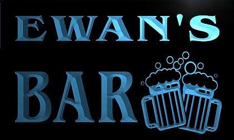 w023346-b EWAN'S Nom Accueil Bar Pub Beer Mugs Cheers Neon Sign Biere Enseigne Lumineuse