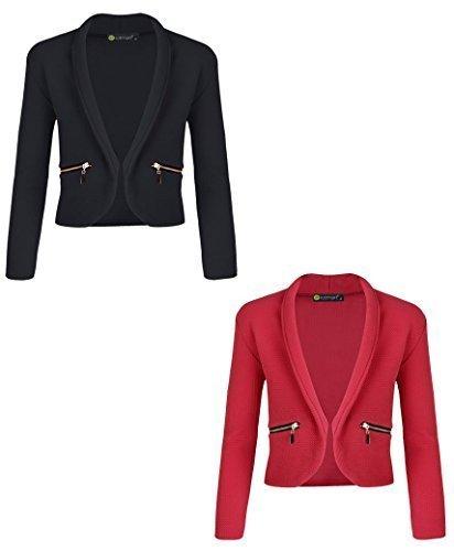 LotMart Mädchen Lang Ärmel offene Vorderseite Reißverschluss Tasche Jacke Kinder Blazer Strickjacke Top Bündel von 2 - schwarz & LEUCHTEND ROT, 146-152