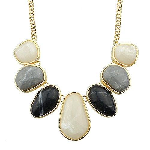 Feelontop® neue Art und Weise Schmuck bunte Harz Big Stone Kragen-Halsketten (Black) (Blase Anweisung Halskette)