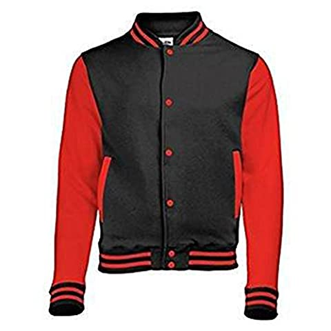 AWDis Kids Varsity Jacket Welt Contrast Pockets Sleeves 80% Cotton, 20% Polyester (12 -13 Years, Jet Black/ Fire Red)